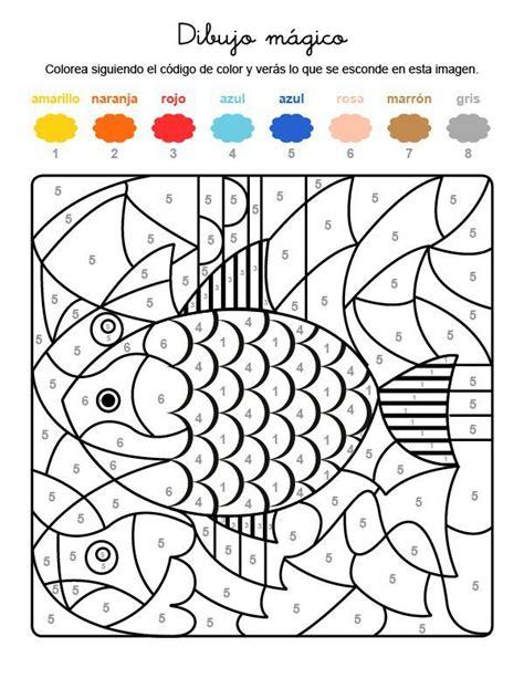 Dibujo mágico de un pez de colores: dibujo para colorear e