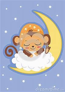 Baby Boy Card Design Cute Baby Monkey Is Sleeping On The Moon Cartoon Vector