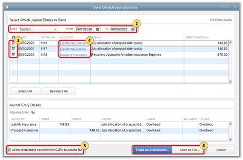 Send and import General Journal Entries in QuickBooks Desktop