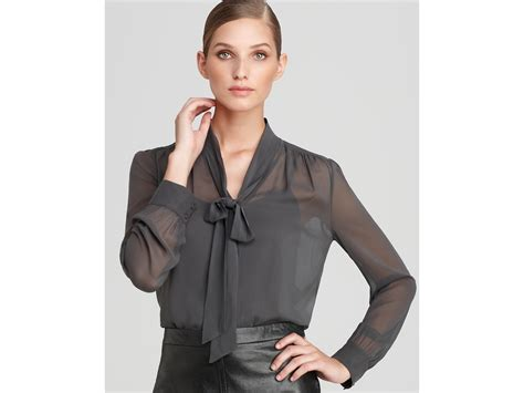 tie blouse dkny sleeve tie neck blouse in gray iron lyst