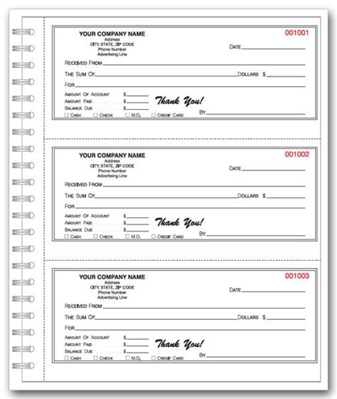 personalized cash receipt book business printable