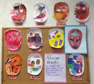 all around the world africa preschool children used scraps of paper to create an mask