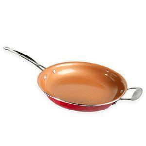 red copper fry saute pan  stick  helper handle tookcook