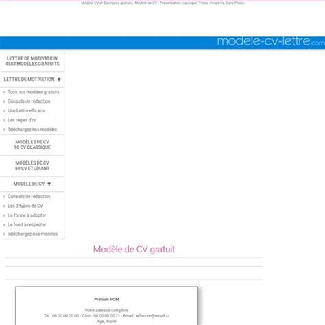 Modèle De Présentation De Cv by Resume Format Presentation Cv Classique