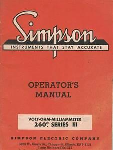 Simpson Manual 260 Series Iii Volt Ohm Milliammeter