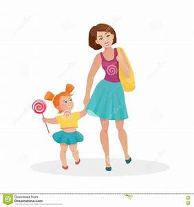 Mom And Young Daughter Walking Stock Vector - Illustration ...