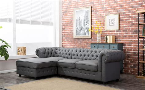 empire chesterfield corner sofa bed  grey pu leather