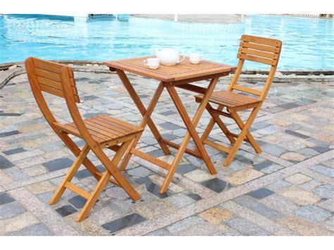 ensemble de jardin chile en bois compos 233 d 180 une table et 2 chaises pliantes jardin sam