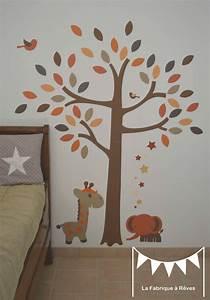 Stickers Arbre Chambre Bébé : stickers arbre savane l phant girafe orange beige marron ~ Melissatoandfro.com Idées de Décoration