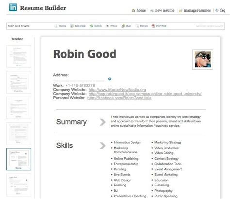 Create Resume Builder by Create A Professional Looking Cv In Seconds With Linkedin