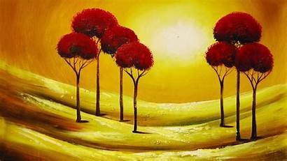 Abstract Painting Oil Wallpapers Trees Painted Widescreen