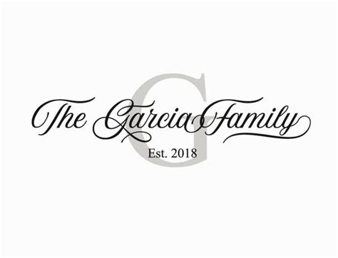personalized family  monogram wall decal vinyl wall art garcia fam surface inspired home