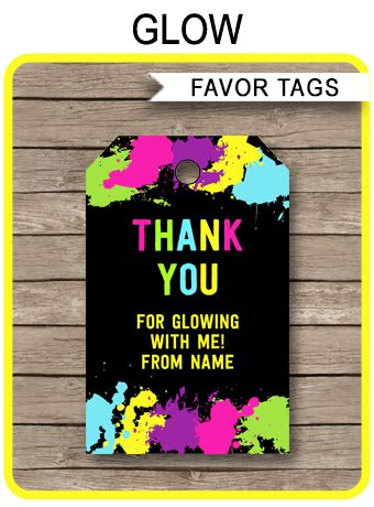 neon glow party favor tags editable   tags