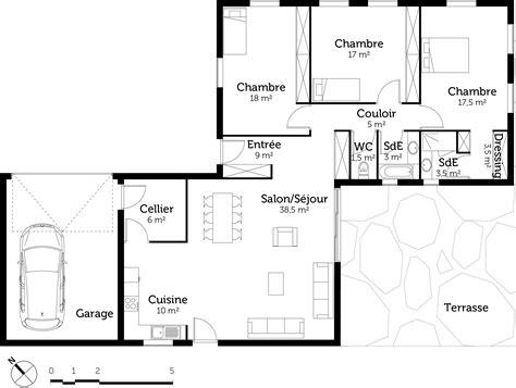 plan de maison 3 chambres plan maison plain pied avec 3 chambres et garage ooreka