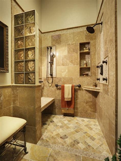 open showers open shower concept bench shelves glass blocks