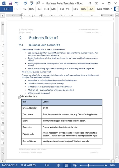 business rules template  sample ms word excel