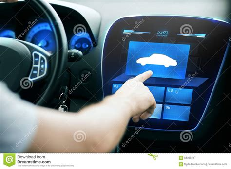 Male Hand Pointing Finger Car Icon Panel Stock