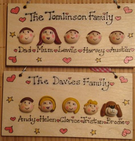 character faces family sign wooden plaque shabby chic