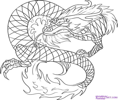 How To Draw A Red Chinese Dragon, Step By Step, Dragons