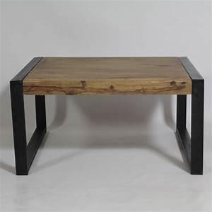 Table Industrielle Bois : table basse industrielle carr e en bois de palissandre made in meubles ~ Teatrodelosmanantiales.com Idées de Décoration