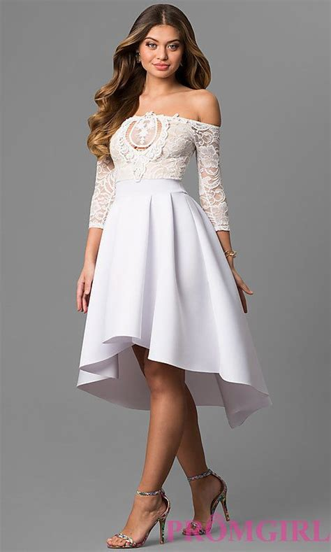 High-Low Off-the-Shoulder Party Dress with Sleeves   White ...