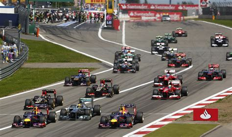 Drivers Race During German F1 Grand Prix At Nuerburgring