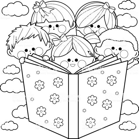 children reading  book coloring book page stock