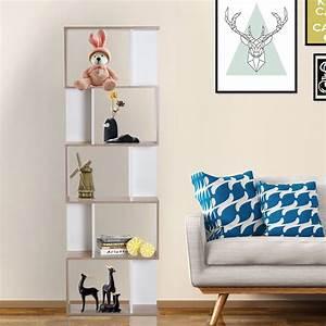 Homcom Scaffale Ufficio Legno Libreria Di Design Moderna 5 Ripiani Bianco  Legno