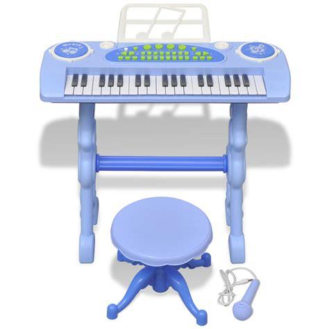 la boutique en ligne piano avec 37 touches et tabouret microphone jouet pour enfants bleu