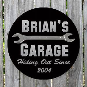 Personalized, Round, Hiding, Out, Since, Metal, Garage, Sign