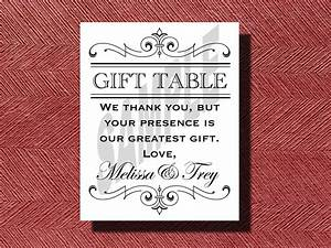Printable Wedding Reception Gift Table Sign