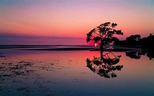 Beautiful Sunset Lake Landscape HD Wallpaper