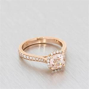 Rose Gold, Cushion-Cut, Morganite Halo Ring - Portfolio ...