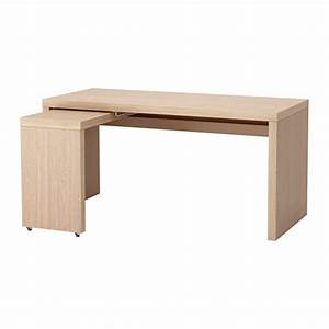 MALM Desk With Pull Out Panel White Stained Oak Veneer