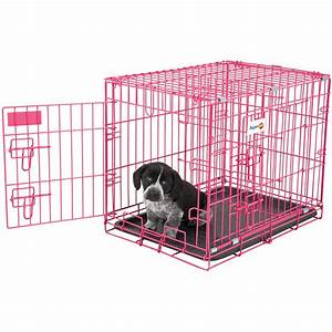 small animal cage crate puppy 2 door training pink dog pan With small dog training crate
