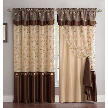 fancy linen embroidery  panel curtain set