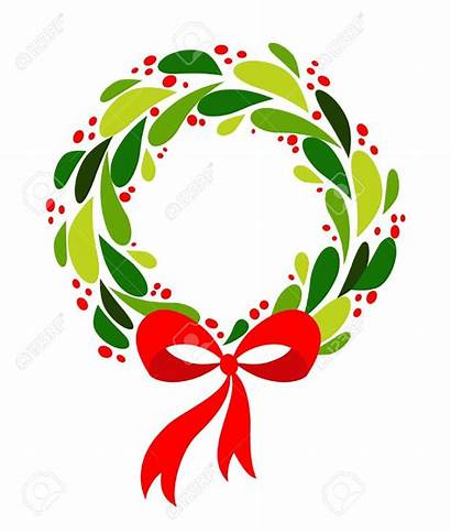 Christmas Wreath Clipart Illustration Vector Bow Holly