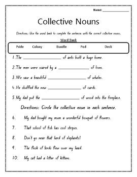 collective nouns worksheet by mrs cullen s creations tpt