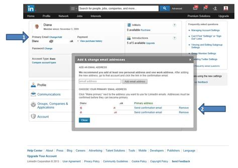 linkedin how to add change or remove your email address