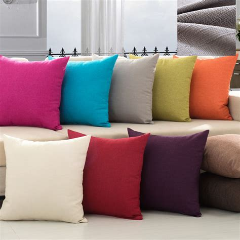 white sofa with colorful pillows solid color simple pillow covering linen cushion cover