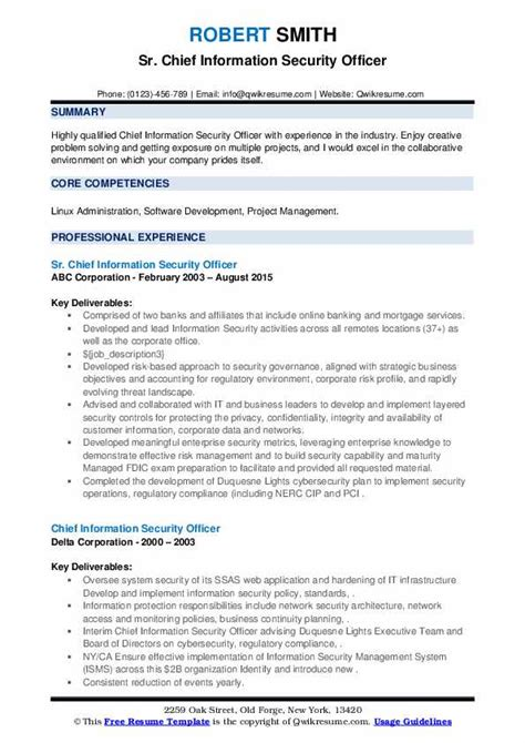 chief information security officer resume samples qwikresume