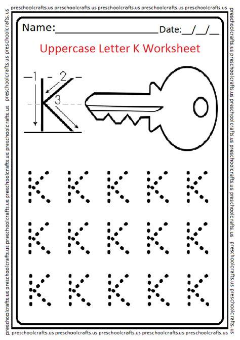 uppercase letter k worksheets free printable preschool