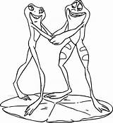 Coloring Pages Disney Frog Couple Princess Dancing Frogs Couples Printable Getcolorings Wecoloringpage sketch template