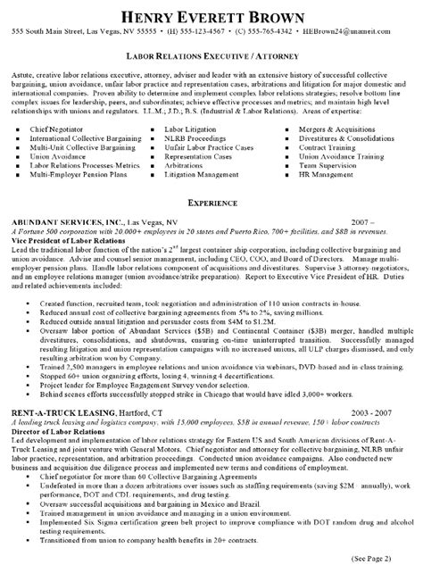 Labor Relations Description Resume by Resume Sle 4 Attorney Resume Labor Relations
