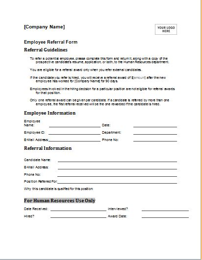 employee referral form template  ms word document hub