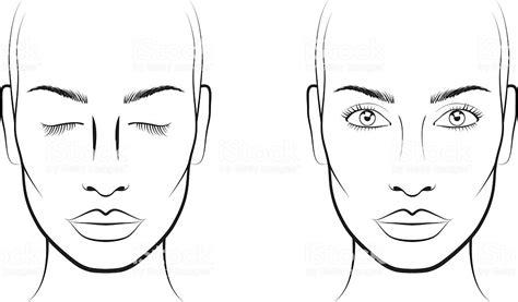 young woman face chart makeup artist blank template stock