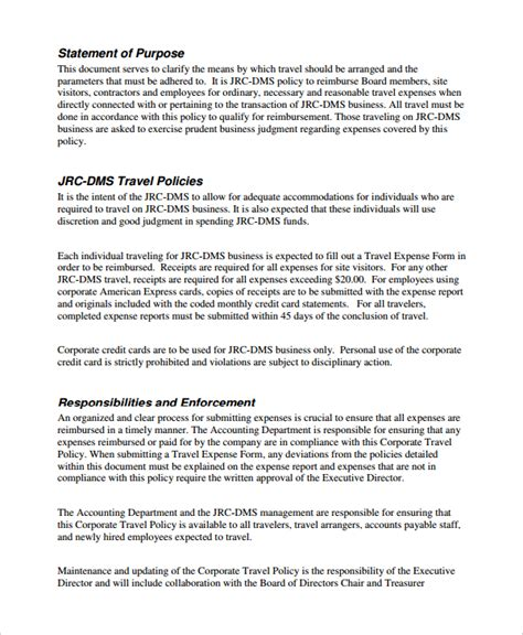 travel policy template for small business travel policy template for small business company travel
