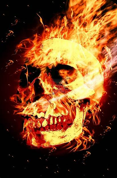 Flaming Skulls Skull Fire Background