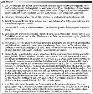 Fiktive Abrechnung Nutzungsausfall : unfallschadensregulierung bgh zur abrechnung fiktiver ~ Themetempest.com Abrechnung