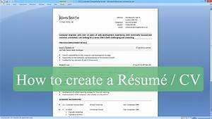 How to write a resume cv with microsoft word youtube for How to create a cv template in word